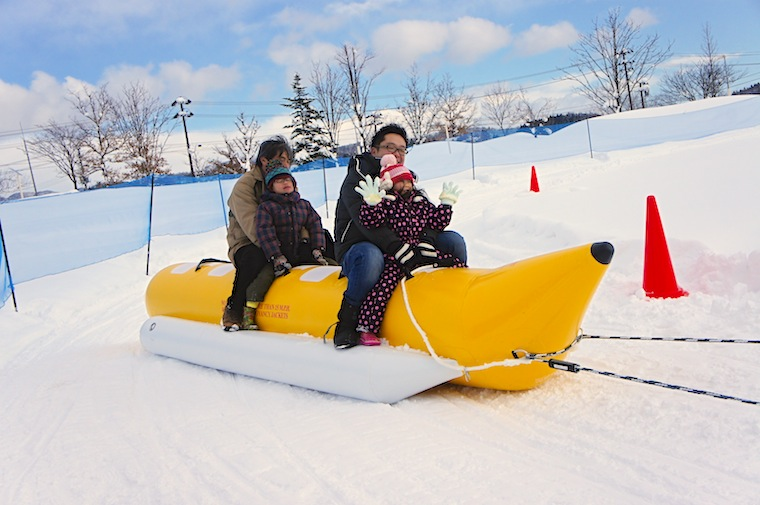 Super exciting Banana Boat ride over snow!